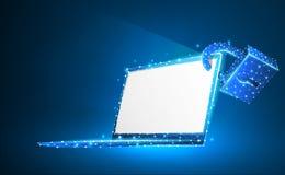 Lap-top, κλειδαριά, σύμβολο σημειωματάριων Άσπρη οθόνη Προστασία συσκευών, κωδικός πρόσβασης, έννοια μυστικότητας Περίληψη, ψηφια ελεύθερη απεικόνιση δικαιώματος