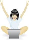 lap-top κοριτσιών ελεύθερη απεικόνιση δικαιώματος