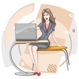 lap-top κοριτσιών διανυσματική απεικόνιση