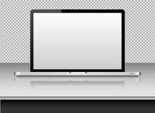 Lap-top με την κενή οθόνη για να παρουσιάσει το σχέδιο εφαρμογής σας ballons απεικόνιση ρεαλιστική Στοκ φωτογραφία με δικαίωμα ελεύθερης χρήσης