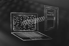 Lap-top με τη ανοιχτή πόρτα που σκάει από την οθόνη με το πρόσωπο κειμένων Στοκ εικόνες με δικαίωμα ελεύθερης χρήσης