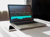 Lap-top με το διάγραμμα στην επίδειξή του στον εργασιακό χώρο του οικονομολόγου Στοκ φωτογραφίες με δικαίωμα ελεύθερης χρήσης