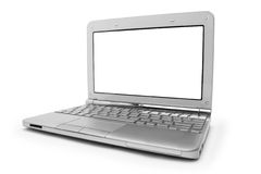 Lap-top με το λευκό μηνύτορα Στοκ φωτογραφία με δικαίωμα ελεύθερης χρήσης