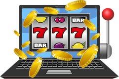 Lap-top μηχανημάτων τυχερών παιχνιδιών με κέρματα Στοκ φωτογραφίες με δικαίωμα ελεύθερης χρήσης