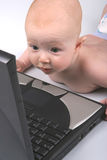 lap-top μωρών ένα στοκ εικόνες με δικαίωμα ελεύθερης χρήσης