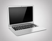 Lap-top που απομονώνεται σε ένα γκρίζο υπόβαθρο Στοκ φωτογραφίες με δικαίωμα ελεύθερης χρήσης