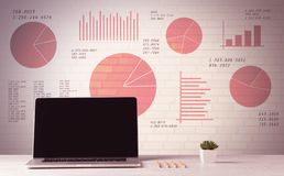 Lap-top στο γραφείο γραφείων με τα διαγράμματα πιτών πωλήσεων Στοκ Φωτογραφίες