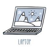 Lap-top Χαριτωμένο σκίτσο doodle στο λευκό Στοκ Εικόνες