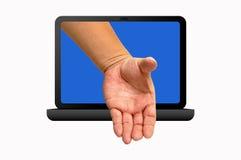 lap-top χεριών Στοκ φωτογραφίες με δικαίωμα ελεύθερης χρήσης