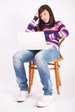 όμορφος έφηβος lap-top κοριτσι Στοκ εικόνα με δικαίωμα ελεύθερης χρήσης