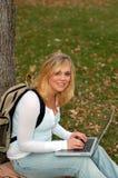 γυναίκα lap-top Στοκ Εικόνες