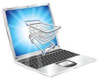 αγορές lap-top Διαδικτύου έννο& Στοκ Εικόνες