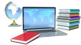 Έννοια εκπαίδευσης. Lap-top, σφαίρα και βιβλία Στοκ εικόνα με δικαίωμα ελεύθερης χρήσης