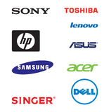 Lap top brands logos. Collection of laptop brand logos Stock Image