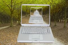 Lap top on a Country road Royalty Free Stock Photography