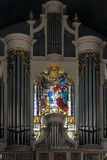 Lapa church stained glass window and pipe organ Royalty Free Stock Image