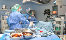 Lapar 044. Doctors during a laparoscopic non invassive surgery in a clinic in the spanish island of mallorca Stock Photo