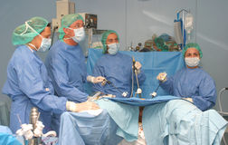 Lapar 015. Doctors during a laparoscopic non invassive surgery in a clinic in the spanish island of mallorca.nLaparoscopic surgery, also called minimally Royalty Free Stock Photos