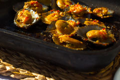 Lapas is an appetizer served on islands of Azores archipelago, Portugal. Stock Photography