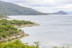Lapataia bay,Tierra del Fuego National Park. Ushuaia, Argentina royalty free stock image