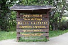 Lapataia fjärd längs den kust- slingan i Tierra del Fuego National Park, Argentina Fotografering för Bildbyråer