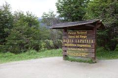 Lapataia fjärd längs den kust- slingan i Tierra del Fuego National Park, Argentina Arkivbilder