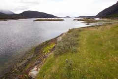 Lapataia fjärd längs den kust- slingan i Tierra del Fuego National Park, Argentina Royaltyfria Bilder