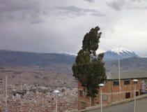 Lapaz stad som ses från el-alten Fotografering för Bildbyråer