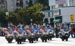 LAPD Motorcycle Officers kick off the Golden Dragon Parade, celebrating the Chinese New Year stock photos