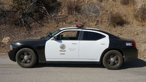 LAPD Police Car in Hollywood Hills Royalty Free Stock Image