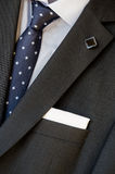 Lapel, pocket square and tie Royalty Free Stock Images