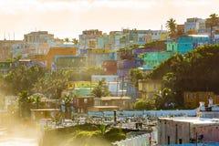 LaPerla område i gamla San Juan på soluppgång royaltyfri bild