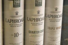 Laphroaig-Whiskyflaschen Stockfotografie