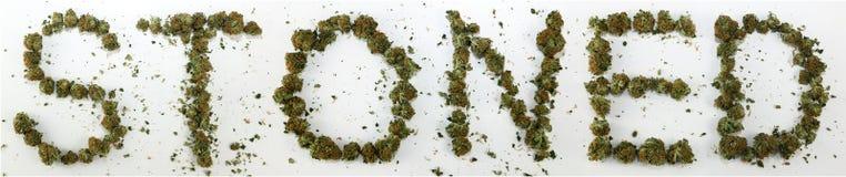 Lapidato compitato con marijuana Fotografia Stock Libera da Diritti