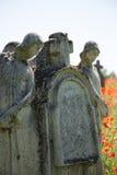 Lapide del cimitero con i papaveri Immagini Stock