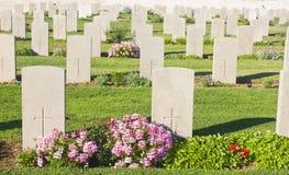 Lapidi in un cimitero Fotografia Stock