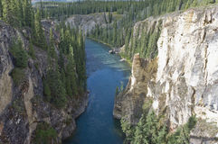 Lapie river ravine. The Lapie river flowing through a ravine in the Yukon, Canada Stock Photo