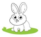 Lapin étonné se reposant sur l'herbe verte Comique icône style de schéma Utilisation à titre illustratif pour la coloration des e illustration stock