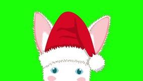 Lapin blanc avec Santa Hat Sneaking Jour de Noël de carte de voeux banque de vidéos