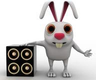 lapin 3d avec le concept musical de haut-parleur Photo stock