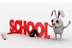 lapin 3d avec le texte d'école et le concept de sac et de crayons Image libre de droits