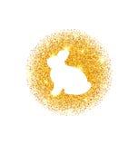 Lapin d'or heureux abstrait de scintillement de Pâques Images stock
