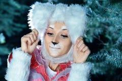 Lapin dans la forêt de neige d'hiver Images libres de droits