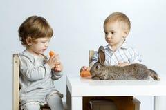 Lapin de alimentation de petite fille avec la carotte photo libre de droits