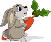 Lapin de bande dessinée tenant des carottes Images libres de droits