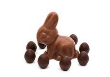 Lapin de chocolat avec des oeufs de chocolat d'isolement Photos libres de droits
