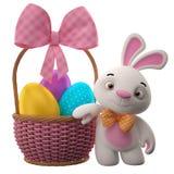 lapin de 3D Pâques, joyeux lapin de bande dessinée, caractère animal avec des oeufs de pâques dans le panier en osier Images libres de droits