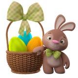 lapin de 3D Pâques, joyeux lapin de bande dessinée, caractère animal avec des oeufs de pâques dans le panier en osier Photos libres de droits