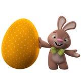 lapin de 3D Pâques, joyeux lapin de bande dessinée, caractère animal avec l'oeuf de couleur de Pâques Images libres de droits