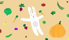 Lapin de dessin animé avec des légumes Images stock